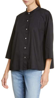 Eileen Fisher Band Collar Stretch Organic Cotton Blouse