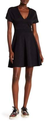 Opening Ceremony V-Neck Short Sleeve Textured Knit Dress