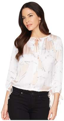 Kenneth Cole New York 3/4 Sleeve Triple Tie Top Women's Clothing