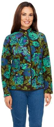 Isaac Mizrahi Live! Floral Printed Button Front Fleece Jacket