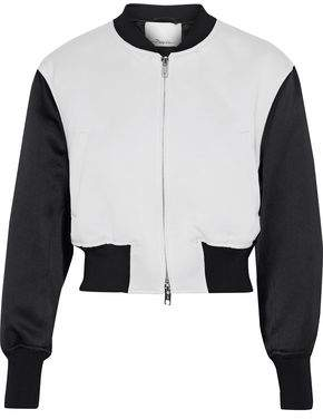 3.1 Phillip Lim Romantic Cropped Satin-Paneled Jacquard Bomber Jacket