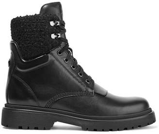 Moncler Patty Shearling-trimmed Leather Ankle Boots - Black