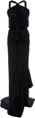 Monique Lhuillier Open Back Stretch-Knit Draped Gown
