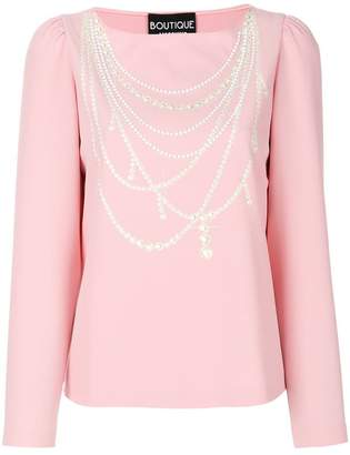 Moschino pearl necklace print top