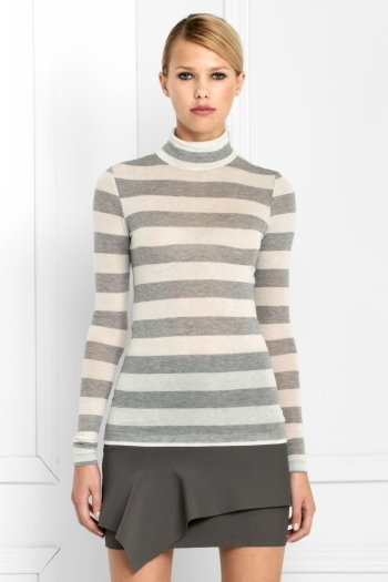 Sculpted Jersey Striped Turtleneck
