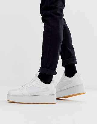 Asos Design DESIGN sneakers in white with platform sole
