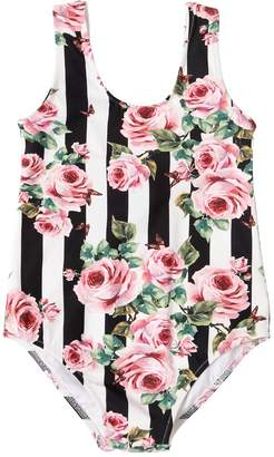 Dolce & Gabbana Stripes & Roses Lycra One Piece Swimsuit