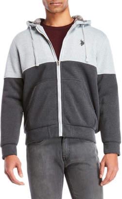 U.S. Polo Assn. Color Block Fleece-Lined Zip Hoodie