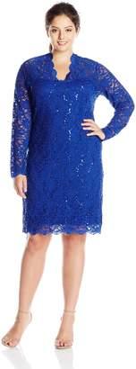 Marina Women's Plus-Size Long Sleeve Sequin Lace Dress