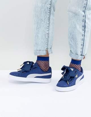 Puma Basket Heart Sneaker in Denim Blue