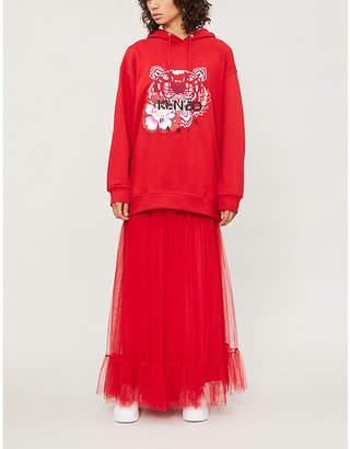 Kenzo Womens Medium Red Floral Tiger-Embroidered Cotton-Jersey Hoody