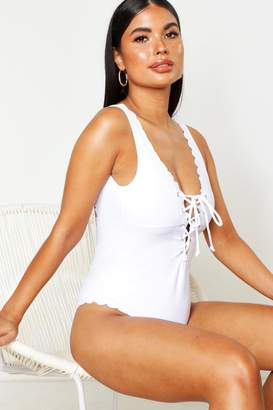 boohoo Petite Scallop Lace Up Swimsuit