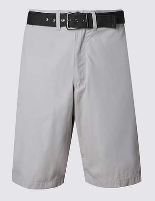 Marks and Spencer Cotton Rich Lightweight Belted Shorts