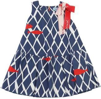 Fish Print Cotton Poplin Dress