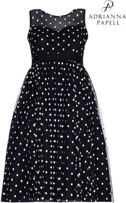 Next Womens Adrianna Papell Black Plus Dot Tea Length Dress