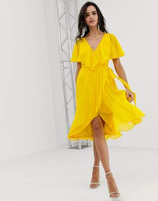 Asos Design DESIGN cape back dipped hem midi dress