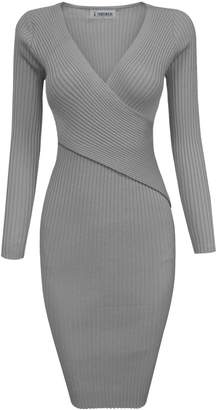 Toms Tom's Ware Womens Stylish Surplice Wrap Bodycon Knit Midi Dress TWCWD157-M-CA