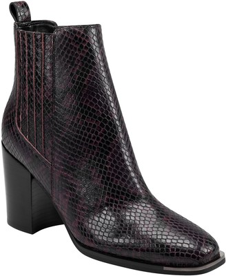 Marc Fisher Taline Croc-Embossed Square Toe Boot
