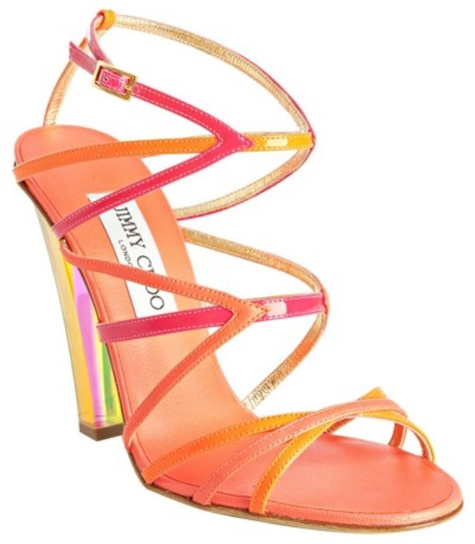 Jimmy Choo hot pink strappy leather 'Poppy' sandals