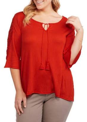 Laundry by Shelli Segal French Women's Plus Scoop Hi Lo Woven Shirt with Tassels