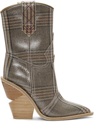 Fendi Tan Plaid Forever Cowboy Boots