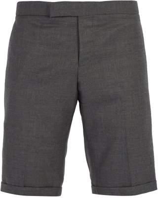 Thom Browne Striped Seam Wool Twill Shorts - Mens - Grey