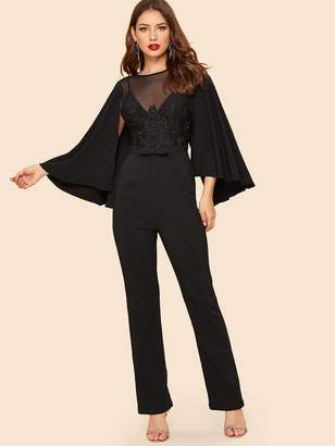 63f5bcd535ce Shein Mesh Insert Applique Cape Sleeve Jumpsuit