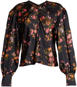Isabel Marant Ovaly ruched-front floral-print silk top