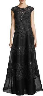 Rickie Freeman For Teri Jon Embellished Mesh Lace Cap-Sleeve Evening Gown