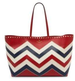 Valentino Rockstud Chevron Colorblocked Tote Bag