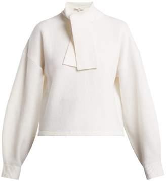 Tibi Airy Tie Collar Wool Sweater - Womens - Ivory