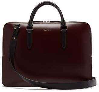 Smythson Foiled Logo Box Calf Leather Briefcase - Mens - Burgundy