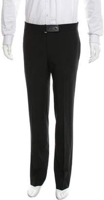 Hermes Leather-Trimmed Wool Pants