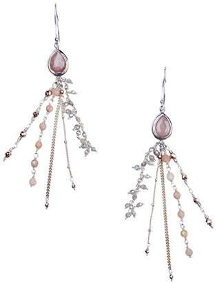 Chan Luu Sterling Pink Moonstone Chain Drop Hoop Earrings