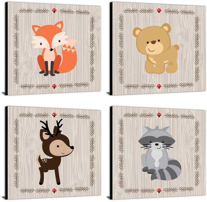 "Etsy Woodland Creatures - Nursery Décor - 11"" x 11"" Nursery Wall Art - Baby Shower Gift Idea - Woodland A"
