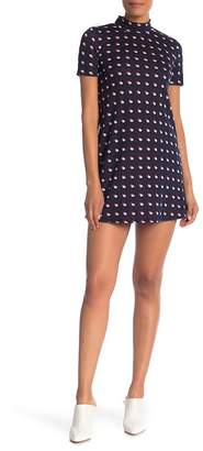 BCBGeneration Mock Neck Print Short Sleeve Dress
