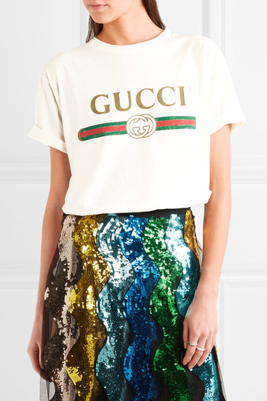 Gucci - Appliquéd Distressed Printed Cotton-jersey T-shirt - Cream 3