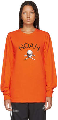 Noah NYC Orange Jolly Roger Long Sleeve T-Shirt