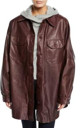 A.L.C. Mercier Button-Front Long-Sleeve Leather Jacket