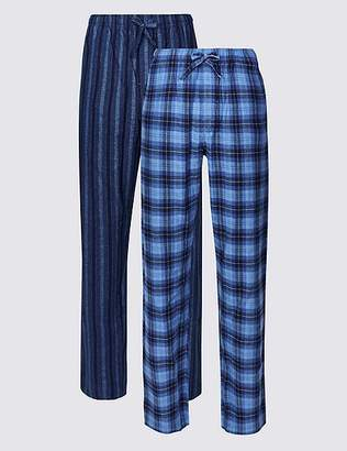 Marks and Spencer 2 Pack Brushed Cotton Check & Stripe Pyjama Bottoms