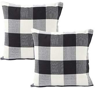 Buffalo David Bitton Foucome Country Style Cotton Linen Pillow Case Black & White Check Car Bed Sofa Throw Pillow Covers Waist Home Decor Cushion Covers