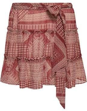 Rebecca Minkoff Cherly Tiered Printed Gauze Mini Skirt