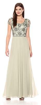 J Kara Women's Long Dress with Flutter Sleeve