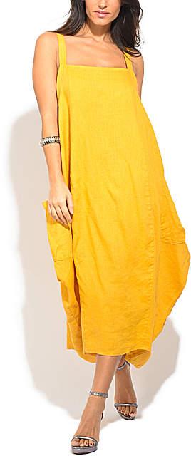 Yellow Square-Neck Linen Strapless Dress - Women & Plus