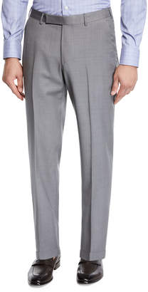 Ermenegildo Zegna Men's Achill Wool-Silk Straight-Leg Pants, Gray