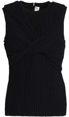 Victoria Beckham Victoria Wrap-Effect Pleated Georgette Top