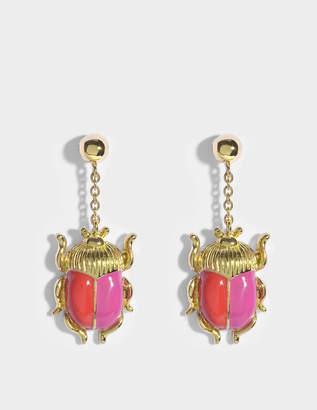 Aurelie Bidermann Elvira Scarab Earrings in Red and Pink Enamel and 18K Gold-Plated Brass
