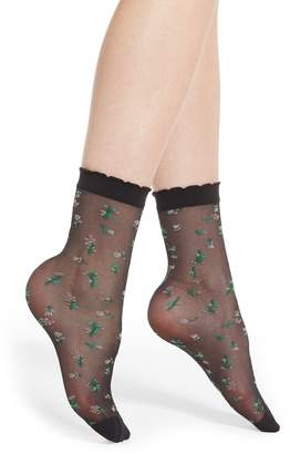 Pretty Polly Sheer Floral Crew Socks