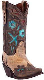 Dan Post Sanded Leather Boots - Vintage Blue Bi