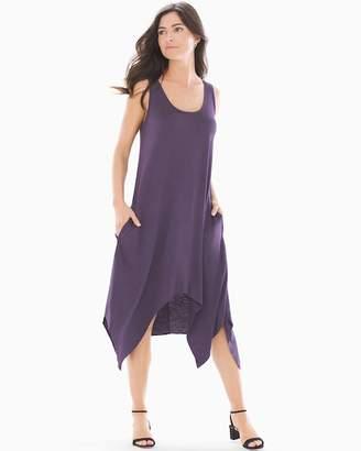 Soft Slub Terry Scarf Hem Midi Sleeveless Dress Nightshade